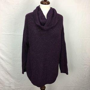 A.N.A. Purple Metallic Cowl Neck Sweater